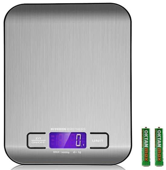 Kitchen Brothers Digitale Keukenweegschaal RVS – Precisie Weegschaal - Elektronische Weegschaal - Sieraden & Juwelen Weegschaal – Postweegschaal – Tot 5 kg – Inclusief Batterijen - Multifunctioneel - Super Nauwkeurig