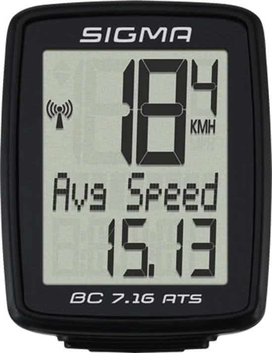 Sigma BC 7.16 - Fietscomputer - 7 functies - Draadloos - Zwart