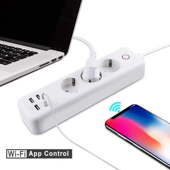 BELIFE® Slimme Stekkerdoos | 3x Stekkers & 4x USB ( FAST CHARGE ) | Werkt met App, Voice Control, Amazon Alexa en Google Home - 2 Stuks