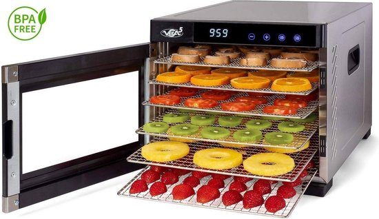 Droogoven roestvrij staal 6 laags Vita5 Nobel PRO Voedseldroger • 24-uurs timer • LED-bedieningspaneel voor temperatuur en timer • Complete set (6 laags Dehydrator)