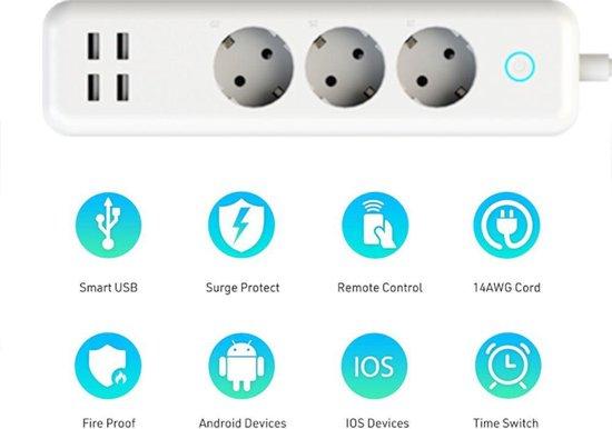 Xidio Slimme stekkerdoos met 4 USB Poorten & 3 x 230V stopcontacten | Bedienbaar met telefoon | Werkt met App, Voice Control en is Compatibel met Google Assistant & Alexa | Bedienbaar met IFTTT, | Smarthome - Smart stekkerdoos | Verlengsnoer