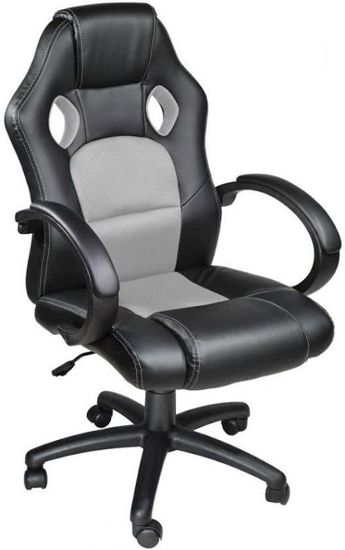 Luxe design bureaustoel racing style grijs zwart 400774